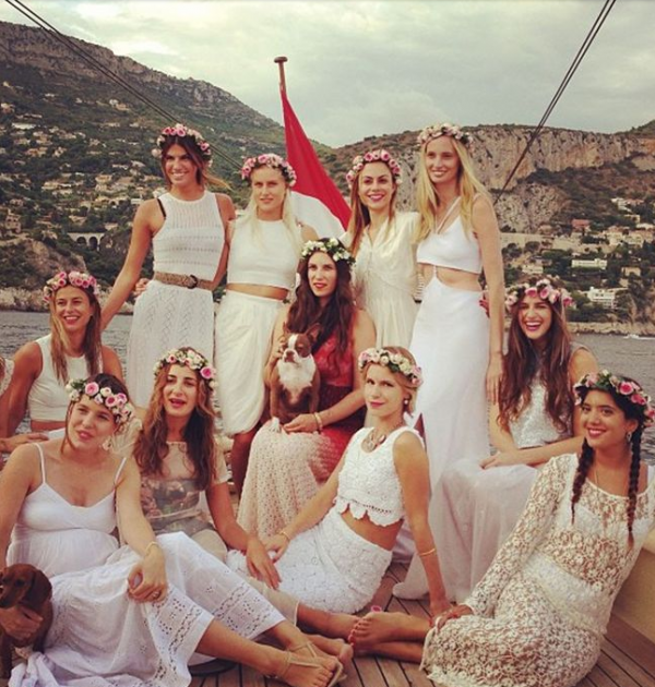 Group Of Women Wearing White Dresses On A Boat Tatiana Santa Domingo S Celebrity Hen Party