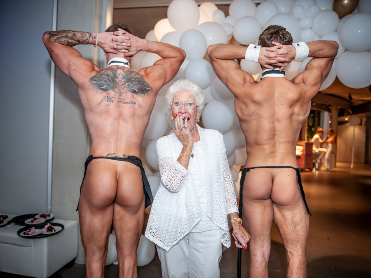 butlers and an older lady