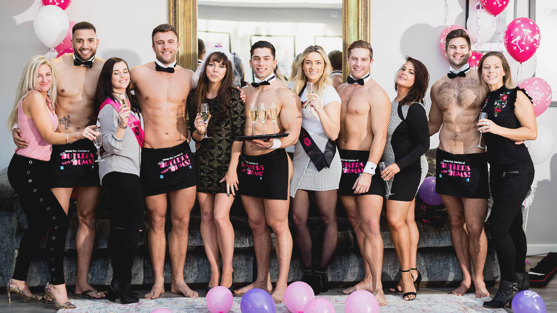 Buff Butlers with hen party guests