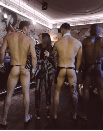 Eileen Causer and 2 butlers with bums