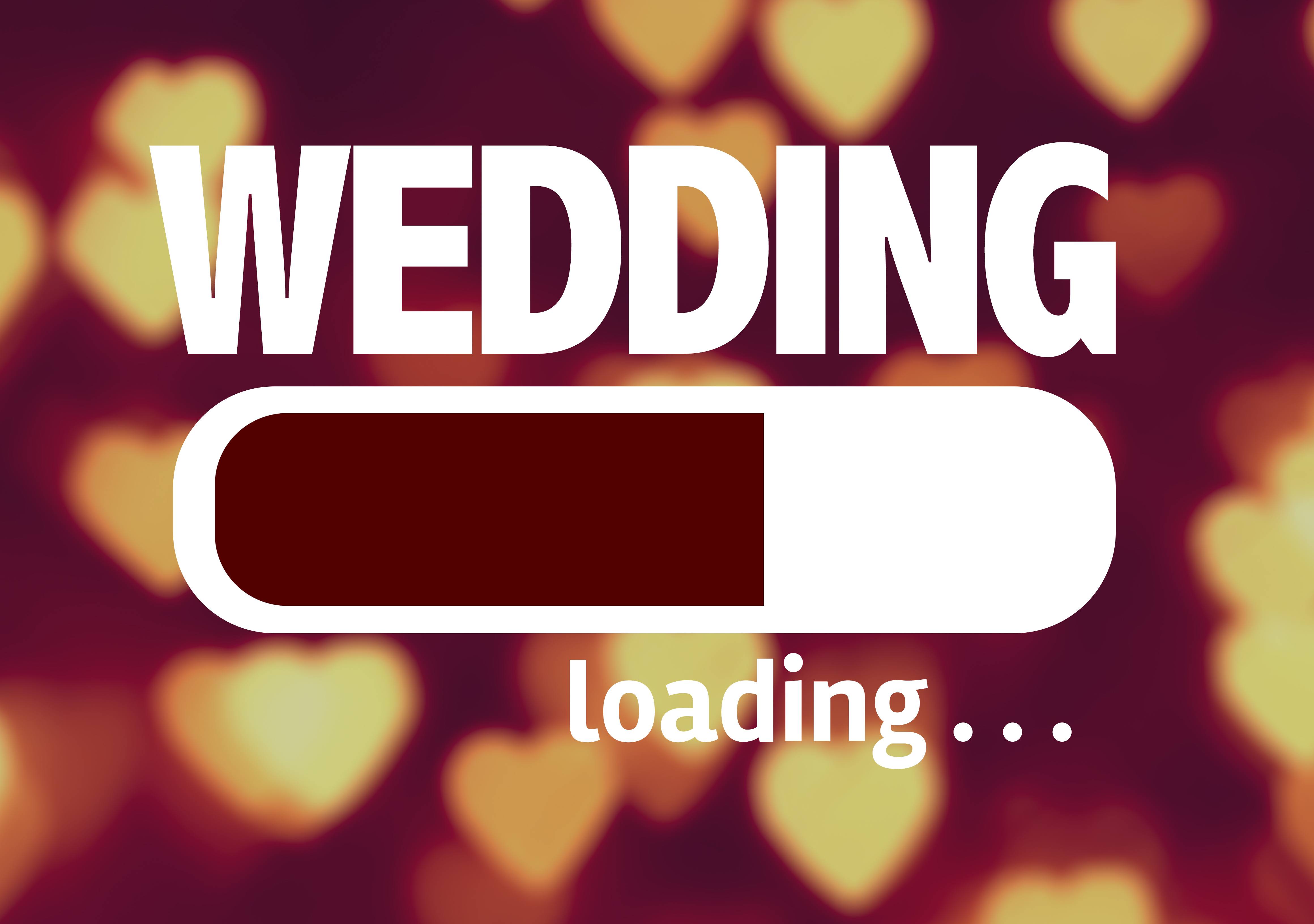 The word wedding with a loading bar underneath it
