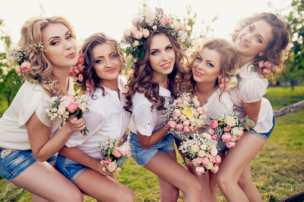 Beautiful girls at a flower themed hen party