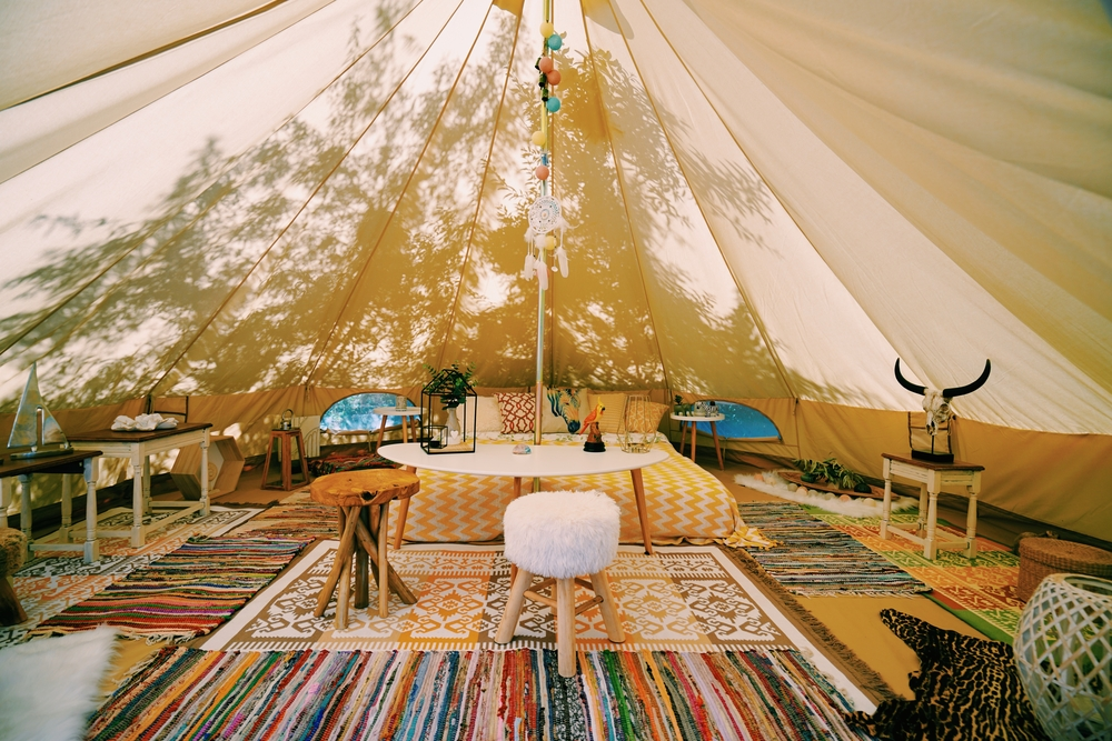 Glamping tent for a summer hen party