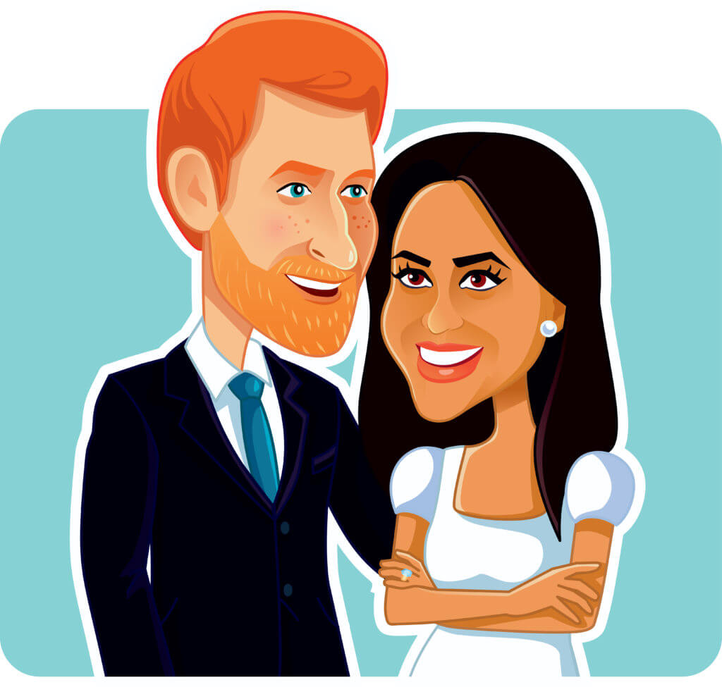 Prince Harry and Meghan Markle cartoon